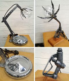 Upcycled lighting from vintage motorcycle and automotive parts by Moto Graphica, Melbourne.