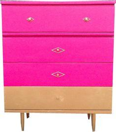 Gold Dipped Hot Pink Dresser