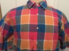 Jos A Bank Stay Cool Mens Large Plaid Short Sleeve Button Down Shirt Size Large #JosABank #ButtonFront