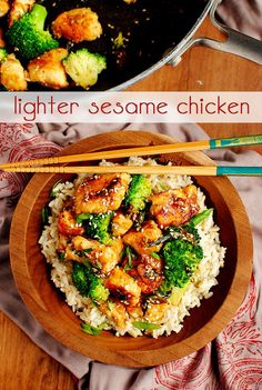 Lighter Sesame Chicken - This recipe is seriously amazing. I make it at least once a week. When I made it for my family I quadrupled the recipe everyone was mad when there still wasnt leftovers to finish the next day! Try it!