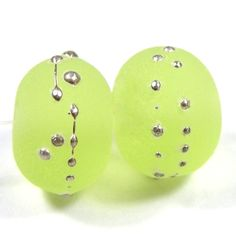 Lampwork Beads Handmade Etched Sea Glass Yellow Green Silver 071efs | Covergirlbeads - Jewelry on ArtFire