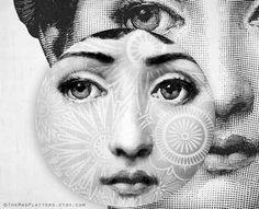 Tattoo in white Lina Cavalieri melamine plate by TheMadPlatters