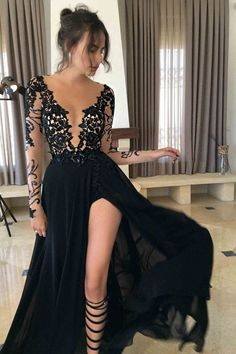 Fashion Black Long Sleeve Lace Prom Dress,Evening Dresses,Party Dress,Prom Dresses,Long Evening Dresses, Woman Prom Dresses,Sexy Prom Dresses,Purple Prom Dress
