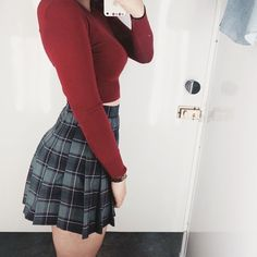 @__youngzzang__ snaps an #AAselfie wearing the Plaid Tennis skirt and the Light Weight Crop sweater. #AmericanApparel