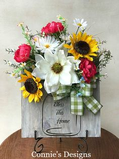 Wood Mason Jar with Florals by Connie's Designs
