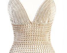 fishnet Crochet Lingerie handmade Bodysuit by kikapaca on Etsy
