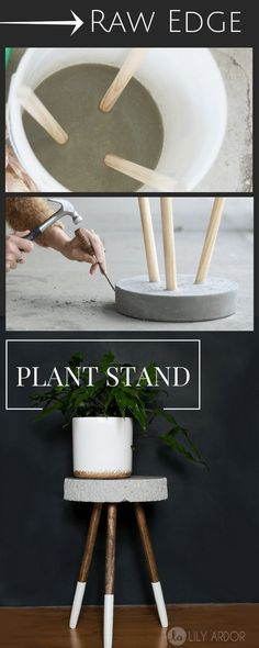Raw Edge Concrete Plant Stand -- DIY --->> TUTORIAL #DIYHomeDecorLamp