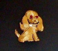 653-Precious-Vintage-Signed-Pell-Textured-Gold-Tone-Puppy-Dog-Figural-Brooch-Pin