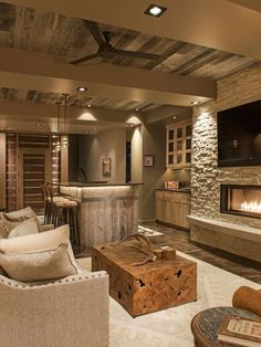 Rustic reclaim wood ceiling in family room Wood Ceiling Ideas Photo Centre Sky Architecture Whitney Kamman Basement Makeover, Basement Renovations, Home Renovation, Home Remodeling, Basement Plans, Walkout Basement, Basement Flooring, Basement Living Rooms, Basement Bathroom