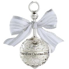 Carlton Heirloom Ornament 2014 Baby's First Christmas - Metal Rattle - #CXOR001F #Carlton