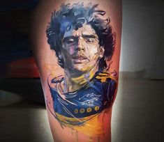 Diego Maradona tattoo by El Mago Tattoo Sport Tattoos, Color Tattoos, Maradona Tattoo, Tattoo Images, Tattoo Photos, Mago Tattoo, Headdress Tattoo, World Tattoo, Large Tattoos