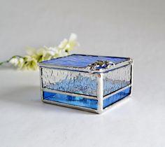 Light Blue Glass Box, Glass Display Box, Jewelry Box, Valentines Day Gift For Her, Bridesmaid Gift, Wedding Display Box.