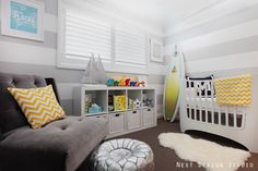 Gray Striped, Beach Inspired Nursery