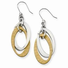 """NEW CHISEL STAINLESS STEEL & GOLD  IP PLATED OVALS 11.50g DANGLE EARRINGS 2.28"""" #Chisel #DropDangle"""