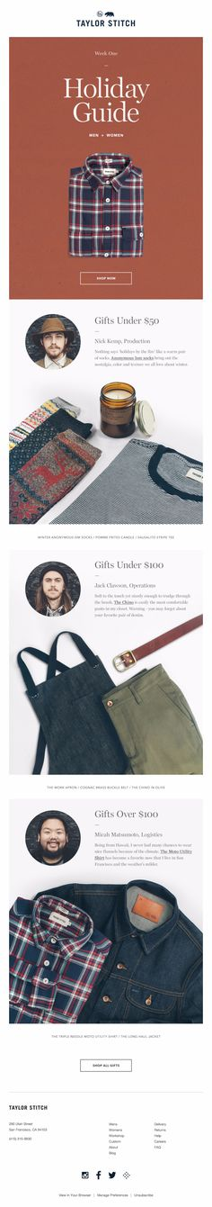 Newsletter Design | Taylor Stitch Holiday Guide