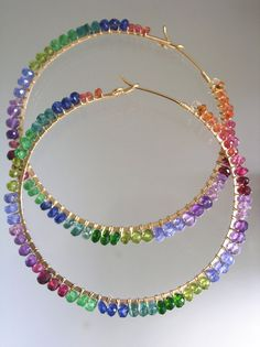 Rainbow Gemstone Gold Filled Hoops Vibrant by bellajewelsII Bead Jewellery, Wire Jewelry, Beaded Jewelry, Jewelery, Bead Earrings, Gemstone Earrings, Silver Earrings, Earrings Handmade, Handmade Jewelry