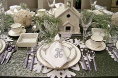 winter scape table, place settings