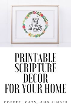 printable scripture decor, bible decor, bible printable, christian home decor, bible verse art, hymn art, bible verse printable Free Printable Art, Quote Board, Baby Nursery Decor, Etsy Crafts, Simple House, Living Spaces, Etsy Seller, Printables, Messages