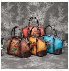 Spedizione Gratis Brown Note, Leather Bags Handmade, Shoe Size Chart, Leather Working, Blue Yellow, Zipper, Boho, Floral, Hand Bags