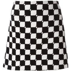 Courrèges checked straight skirt ($589) ❤ liked on Polyvore featuring skirts, black, checkerboard skirt, checkered skirt, straight skirt and checked skirt