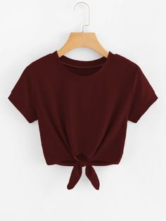 Shop Knot Hem Crop Tee at ROMWE, discover more fashion styles online. Cute Teen Outfits, Cute Comfy Outfits, Cute Outfits For School, Teen Fashion Outfits, Cute Summer Outfits, Outfits For Teens, Pretty Outfits, Cool Outfits, Trendy Hoodies