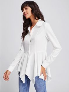 Long Sleeve Blouses. Shirt Decorated with Ruffle, Asymmetrical, Button. Designed with Collar. Regular fit. Perfect choice for Elegant wear. Plain design. Trend of Spring-2018, Fall-2018. Designed in White. Fabric has some stretch.