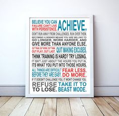 """Believe You Can Achieve"" themed manifesto print, designed to encourage athletes to work hard in order to achieve goals!"
