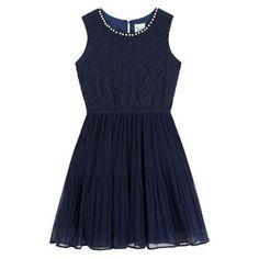 1445772307a6 Buy Yumi Girl Pearl-Look Trim Lace Bodice Dress