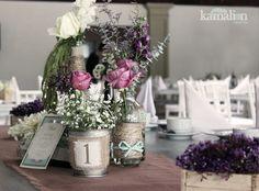 www.kamalion.com.mx - Decoración / Vintage / Rustic / Mint & Purple / Menta & Morado / Centerpiece / Centro de Mesa / No. de Mesa