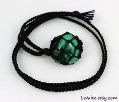 Malachite Black Satin Cord Wrapped Healing Necklace