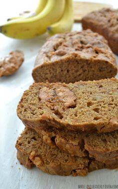 Peanut Butter Swirl Banana Bread   wholeandheavenyoven.com @WholeHeavenly