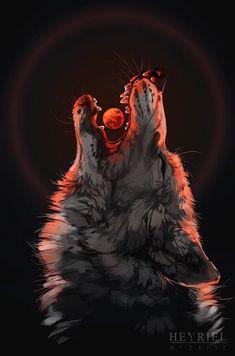 Tattoo Wolf Moon Werewolves Wolves 32 New Ideas Anime Wolf, Artwork Lobo, Wolf Artwork, Fantasy Wolf, Fantasy Art, Fenrir Tattoo, Tier Wolf, Werewolf Art, Wolf Wallpaper