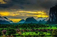 "Vang Vieng, Laos • ""Vang Vieng Sunset"" by Dror Bekerman on http://500px.com/photo/11177165"