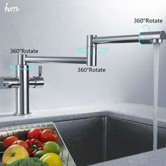 hm Kitchen Sink Faucet Stretch Folding Bathroom Kitchen Mixer Taps Deck Mounted Dual Handle Luxury Copper Faucet Kitchen Faucets