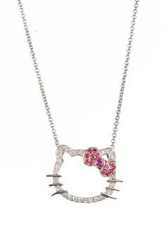 6643edb27 Hello Kitty | by Simmons Jewelry Co. Pave Diamond Hello Kitty Silhouette &  Pink Sapphire Bow Pendant Necklace | HauteLook