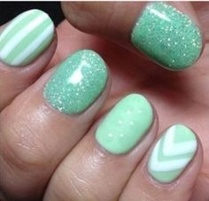 Mint green and white gel nails