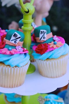 Amazing Alice in Wonderland birthday party cupcakes! See more party planning ideas at CatchMyParty.com!