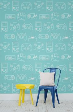 Are you a gamer? If so, you'll love this retro wallpaper design with outlines of classic game control pads. Perfect for kids' bedrooms or those after a playful feel to their interiors.