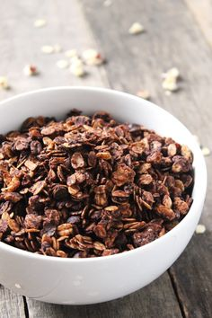 Mocha Hazelnut Granola Cereal. Packed with chocolate coffee flavor, this mocha hazelnut granola is soon to become a breakfast staple.