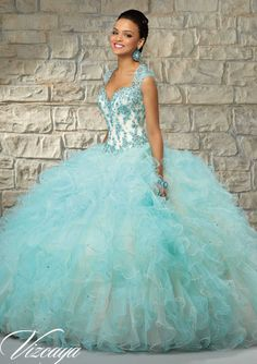 2015+Jade+Ball+Gown+Straps+Beaded+Appliques+Cascading+Ruffles+Organza+Skirt+Floor+Length+Quinceanera+Dress/+Prom+Dresses+89029