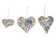 Paper Heart Ornaments, Asst. of 6 on OneKingsLane.com - wonder if I could make these?