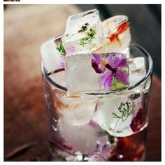 Floral ice cubes for cocktails