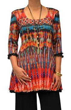 50ec6bc66a7 What a fabulous mesh tunic for the holidays! AMMA Design Women's Printed  Tunic XS Printed
