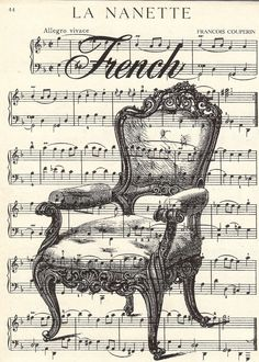 Vintage French-themed collage with ornate chair on sheet music background, *free printable*
