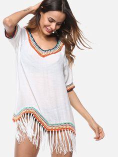 f818ea21af Contrast Crochet Trim Tassels Hem Mini Beach Dress