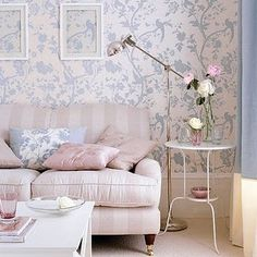 ~ i like these color combinations and the different textures of stripes and pale blue tree wallpaper ~