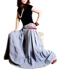 RED POCKET  silky linen Long Skirt Q1001 by idea2lifestyle on Etsy, $58.00