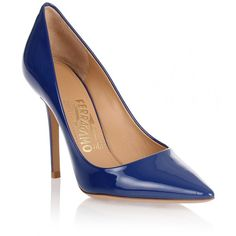 Salvatore Ferragamo Susi 100 patent blue pump (365 545 LBP) ❤ liked on Polyvore featuring shoes, pumps, sapatos, blue, pointed toe pumps, patent pumps, high heeled footwear, blue pumps and high heel pumps