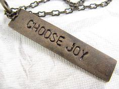 Choose Joy Necklace Hand Stamped Jewelry by CobwebCorner on Etsy, $19.00