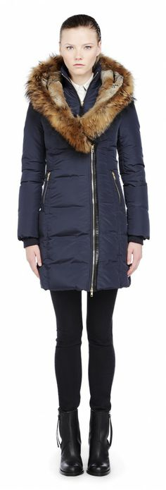Mackage - TRISH-F3 LONG INK DOWN JACKET WITH NATURAL FUR Designer Leather Jackets, North Face Fleece Jacket, Womens Parka, Winter Jackets Women, Down Coat, Fur Trim, Fur Coat, My Style, How To Wear
